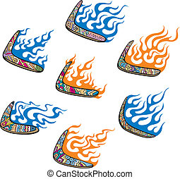Australian Boomerangs with Flames