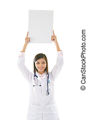 malay mixed race asian doctor with blank cardcoard