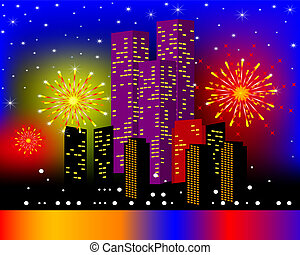 background townhouses with festive firework in the night -...
