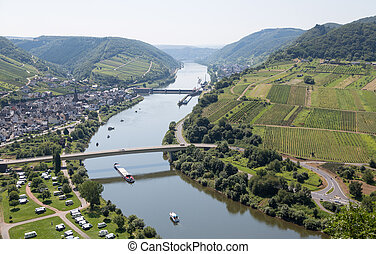 Landscape with the river Moselle near Neef in Germany
