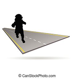 baby on the road illustration