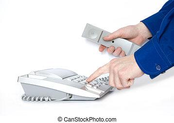 phone  - Finger presses figure on phone