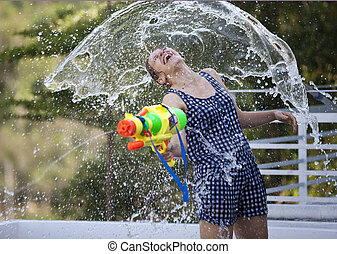 funny girl under water splashing - funny girl with plastic...