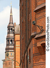 Historic buildings in the Speicherstadt in Hamburg -...