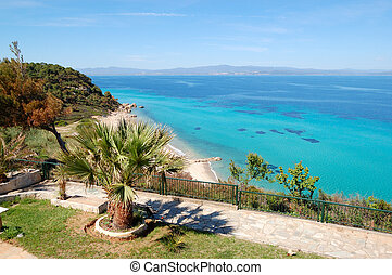 The sea view recreation area of luxury hotel, Halkidiki,...