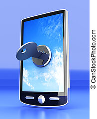 Locked Smartphone - A locked smartphone. 3D rendered...