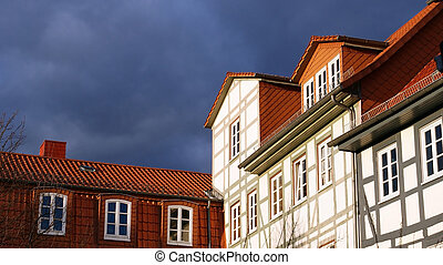half timbered - Photograph of a historic half-timbered house...