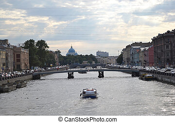 Fontanka canal in StPetersburg - Fontanka canal at cloudy...