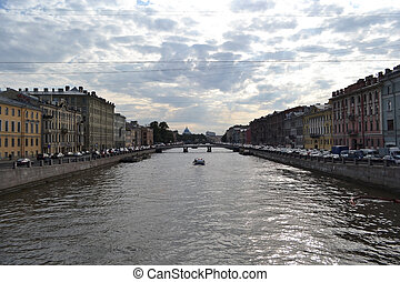 Fontanka canal in St.Petersburg - Fontanka canal at cloudy...