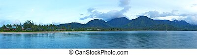 Mountains of Hanalei Area Kauai Hawaii - A panoramic shot of...