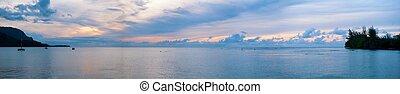 Hanalei Bay Hawaii Sunset Panoramic