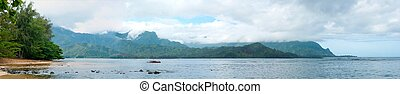 Panorama of Hanalei Bay Mountains - A panoramic shot of...