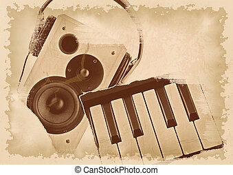 abstrakt, musik, bakgrund