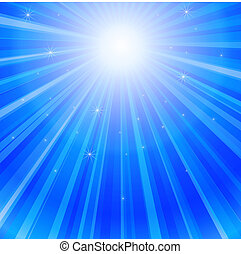 Ray of Lights in Ocean - Blue rays of sun in the sea