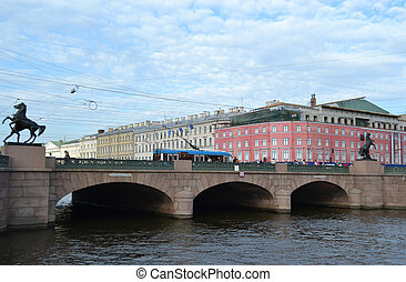 Anichkov bridge and Fontanka river - View on Anichkov bridge...