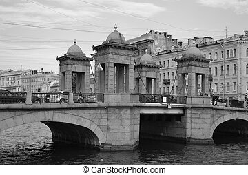 Lomonosov Bridge across Fontanka in St.Petersburg. - View of...