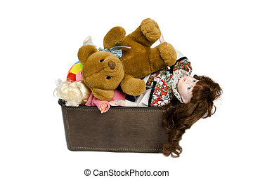Toys in brown box on a white