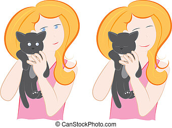 Woman holding a cat - A vector cartoon featuring a young...