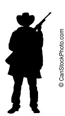 Cowboy holding rifle - Illustrated Silhouette of a cowboy...
