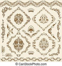 Conjunto, vector, damasco, Ornamentos
