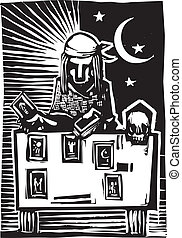Gypsy Tarot Card Reading A - Woodcut style image of a gypsy...