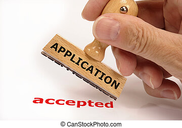 application - rubber stamp marked with application accepted