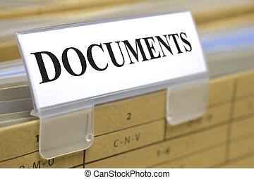 documents - sign on folder marked with documents