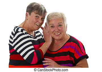 Two female senior woman have fun together