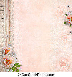wedding cover for an album with lace,  roses