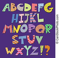 Comic alphabet - Colorful patterns comic alphabet