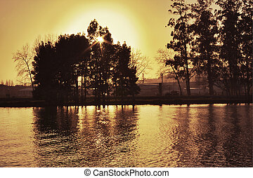 Ro Lrez on Pontevedra - Sunset over Lerez river at...