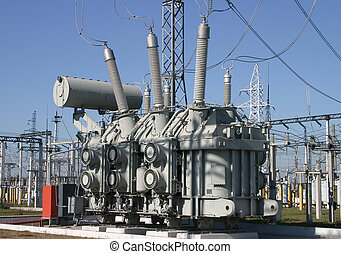 Electrical substation  - A row of power equipment