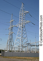 Electricity supply pylons - A row of power equipment