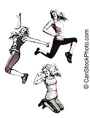 aerobics trio - illustration of jumping women