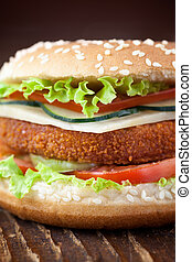 Fried chicken or fish burger sandwich - Junk food concept...