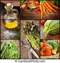 Fresh vegetables collage - Organic Food concept. Collage of...