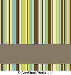 brown, blue and green colored striped background with banner