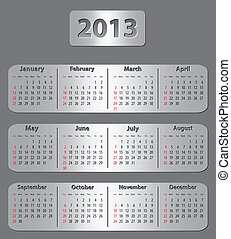 Gray calendar for 2013 year