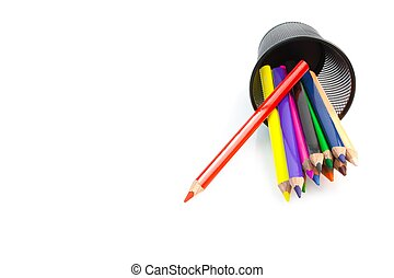 color pencils and container on white background