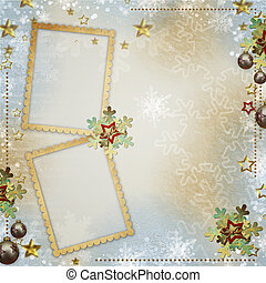 old Christmas greeting card with frames, snowflakes, stars