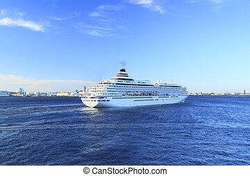 cruise ship at Yokohama Osanbashi Pier in Japan