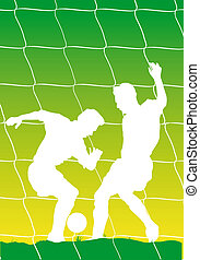 Soccerplayers - Abstract vector illustration of two...