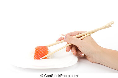 Japanese food Sushi in hand - Traditional Japanese food...