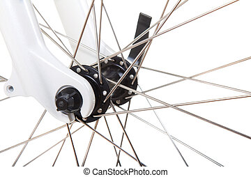 Spokes on bicycle wheel isolated