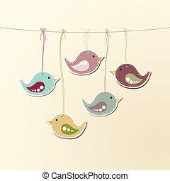 Birds on strings - Vector illustration of cute birds hanging...