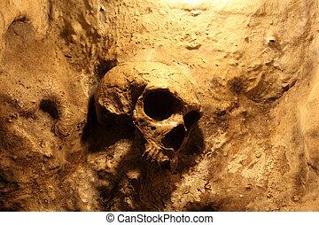 Skull inside of the St. Michales Cave in Gibraltar