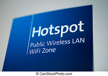 Hotspot sign - Public free Wi-Fi hotspot sign as seen in...
