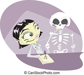 Osteopath - Cartoon medical student studying the human...