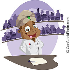 Pharmacist - A happy cartoon pharmacist behind his counter...