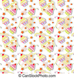 Colorful Cupcake Seamless Pattern